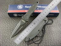 aluminum straight edge - Smith WESSON Whistle HRT Double EDGE Neck knife Fixed Blade Knife Hard Plastic Sheath warrior Aluminum Handle Black Straight Survival knives
