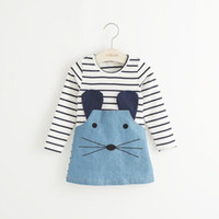 Wholesale Casual style long sleeve Striped lovely little mouse design girls dress New Arrive Autumn children clothing girl dress Vestidos