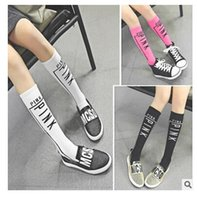 Wholesale Cotton Stockings Letter Socks VS PINK Girls Stockings Candy Color Girls Print Socks Knee Printing High Knee Sport Children Leg Warmers