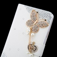 apple crowns - Luxury crystal rhinestone flower butterfly Wallet style bling Diamond DIY crown Flip Leather phone case for Iphone s s plus Samsung S7