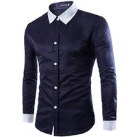 Wholesale high quality new men s Slim casual Social Dress Shirts chemise homme man Black White long sleeved shirt Plus Size