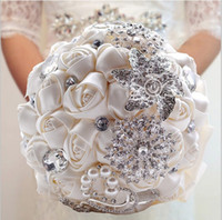 Cheap 2015 Hot Sale Wedding Bridal Bouquets with Handmade Flowers Peals Crystal Rhinestone Rose Wedding Supplies Bride Holding Brooch Bouquet