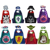 Cheap 8 styles Kids Double Side capes star wars capes + mask 2pcs set customize logo-Darth vader Yoda stormtrooper Ape-man capes and masks DHL
