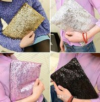 Wholesale Fashion Women s Gold Handbag Sparkling Sequins Dazzling Clutch Party Evening Bag Ladies Handbag Girls Crystal Bling Purse Cosmetic bag