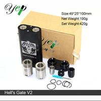 100% Authentique Yep Hell's Gate V2 Boîte Mod Starter Kit RDA atomiseur Vapeur énorme pour double bobines 18650 Mise à jour Hells Gate Mini