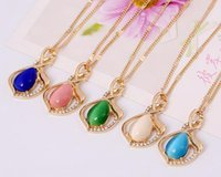 asian countries - alloy electroplate five colors set drill opal pendant necklace by epacket to many country
