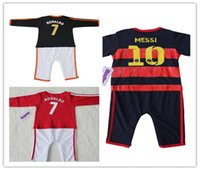 baby ronaldo - Bebe cotton Baby Ronaldo messi Rompers Baby Long Sleeveless Jumpers Bebe Soccer Sports Rompers for Newborn Baby Free Shipment
