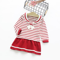 american marines - 2016 girls dress Long sleeve Marine Preppy style striped bow dresses pre school children clothing cotton fast shipping