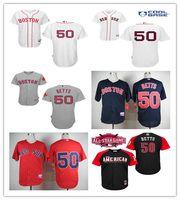 achat en gros de maillot authentique 56-2016 Authentique Boston Red Sox Jersey 50 Mookie Betts Maillots de baseball Cool Base Maillots de baseball cousus Rouge Blanc Noir Taille 48-56