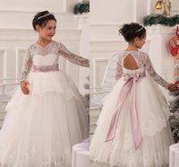 beauty full images - White Lace Ball gown Flower girl Dresses Full Long sleeve Beauty Little girls Pageant dress Lovely Kids dress for Children