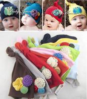 Wholesale baby hat newborn crochet beanies baby amour infant baby Flower hats Amour gorro cap Kids Caps Beanies Hat Infant Caps D497
