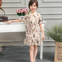 Wholesale 2016 new summer Korean sweet children cloth girls straight dress kids clothes sleeved feather pattern print dresses