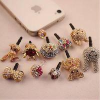 bear earphones - Luxury Diamond Bling Crystal Crown Cute Bear Bowknot Jack Anti Dust Plugy Cell Phone Plug Anti Dust Earphone Plug for iPhone Samsung MM