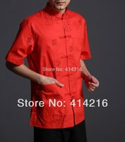 Wholesale male summer cotton stamp seal short sleeve Shirts men man tradtional Tang suits kung fu uniforms cool
