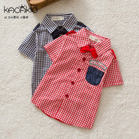 Wholesale Quality Summer High Brand Fashion Children Cotton Shirts Boys Plaid Short Sleeve Shirts Kids Boys Tops Shirts