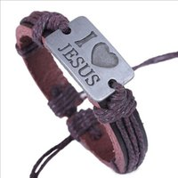 Wholesale 2016 hot style bracelet Europe and the United States men s and women s bracelet I love Jesus alloy bracelet with genuine leather Weaving han