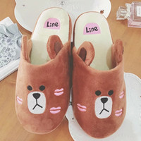 bear sew - Lovely Bear Plush Winter Slippers For Women and Man Cartoon Ears Line Fashion Household Shoes Novelty Slippers