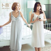 bamboo nightgowns - 2017 girlfriends series new fashion princess design natural Organic bamboo fiber fabric women s sling built in chest pad underwear Nightwear