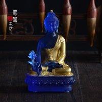 gift box ornament - 5 Inch Real Liuli with Gold Foil Bhaisajyaguru Medicine Buddha Statue Buddhist Prayer Room Decor