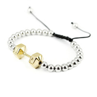Wholesale Fashion Barbell Bracelet High Quality L Stainless Steel Strand Bracelets for Men and Women Adjustable Length SB01801