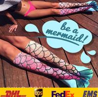 Wholesale Fashion D Women Ladies Mermaid Printing Stocking Socks Sexy New Cartoon Cosplay Costume Bottoming Fish Long Socks To Knee Gifts HH S01