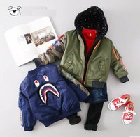 Wholesale Hot Sale Baby Bomber Jacket Boy s Shark Head Epaulette Print Full Zipper Coat Air Force Child Outwear Kids Trench Brother amp Sister