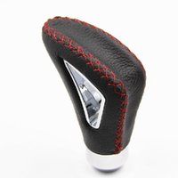 Wholesale Hollow out Universal Aluminum Leather Manual Car Tuck Gear Stick Shift Knob Shifter Lever Cover Red Stitched High quality