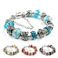 Wholesale New Arrival European Beads Charm Bracelets Bangles For Women IY Interchangeable Glass Crystal Jewelry Christmas Gifts