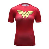 factory clothes - Wonder Woman Logo Printed T shirt Women Superhero Tshirt Marvel Lovely Cartoon Compression Fitness Yoga Shirts Factory Price Gym Clothing