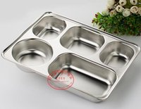 Wholesale 28x22CM Stainless Steel Service Plate School Canteen Dinner Plate Fast Food Snack Plate