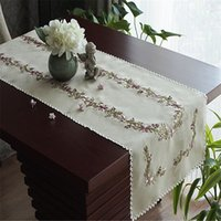 Wholesale linen pastoral style tablecloth embroidery table cover coffee tea table skirts home and garden decoration mom gift wedding present textile