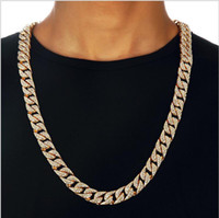 Wholesale New Arrivals Iconic Limited Edition Hip Hop Bling full diamond Whip chain necklace Cuba Men s Jewelry K gold plated diamond chain necklace