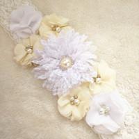 beautiful photo props - Beautiful White Chiffon Flower Maternity Sash Belt Pregnancy Photo Props Wedding Sash Baby Shower Mom to be Sash
