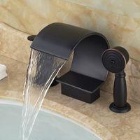 bathtub curve - Oil Rubbed Bronze Deck Mount Bathtub Mixer Faucet Curve Shape Waterfall Spout with Handshower