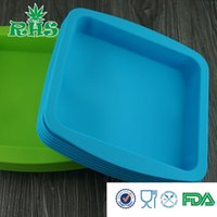 Wholesale DHL free ship square and roud shape non stick silicone tray for oil wax BBQ tool baking bakeware S