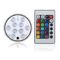 Wholesale Submersible Waterproof Wedding Floral Decorations - 10pcs lot Remote Controlled 10SMD RGB MultiColor Waterproof Wedding Party Vase Submersible Floral led Base Light Remote Controller