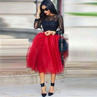 african tea - Lovely Red Puffy Tulle SkirtS For Women African Black Girls Party Dresses Custom Made Tea Length Tutu Maxi Casual Skirts Ball Gown