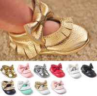 baby seven - Small seven style PU bow tassels soft bottom toddler shoes Baby moccasins autumn Girl square mouth soft bottom indoor prewalker Z