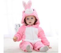achat en gros de flanelle matelassés-Hot New Baby Romper fille Vêtements flanelle de coton matelassé Jumpsuit Cartoon lapin mignon Rompers animaux Vêtements de bébé (rose) JY0526