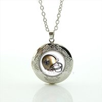 Wholesale Stylish Pendants For Men - New fashionable stylish locket necklace jewelry New Orleans Saints team Newest mix 32 sport helmet bijoux present for men NF124