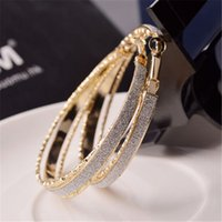Wholesale Fashion Crystal Diamante Rhinestone Silver Plated Hoop Big Round Earrings For Women