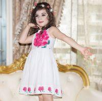 beautiful girls clothing - 2016 Beautiful Girls D Flower Applique Dress Girls Sleeveless Cotton Dresses Clothing Purple Rose K7627