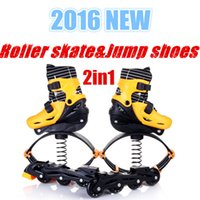 adult outdoor roller skates - 2016 New Jumping Shoes in1 Roller Skate Bounce Shoes Kids Teenager Adults Outdoor Sports Fitness Shoe