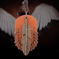 art network - 2016 New The whole network of new Korean art Retro PU leather Feather Necklace Alloy Jewelry Fashion Mens