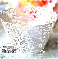 Wholesale Ivory Vine Filigree Laser Cut Lace Cup Cake Wrapper Cupcake Wrapper FOR Wedding Christmas Party Decoration jy312