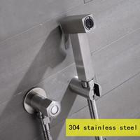Single Hole 1 Stainless Steel Free shipping Wc Bidet Shower Set Toilet Shower Bidet Sprayer hand shower 304 Stainless Steel with Hose & Holder and valve BD444