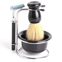 Wholesale 5 In Men Clean Shaver Kit Set Chrome Bowl Brush Soap Dish Stand Shaving Razor Beard Easy Carry