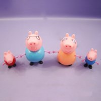 Wholesale 4pcs Anime Papa Pig Family Member Action Figures Toys Juguetes Peppa George Mummy Daddy Plastic ABS Toy for Children Christmas Gifts