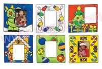 achat en gros de cadres ornement-12PCS / LOT.Paint inachevée photo noël cadre receveur de soleil, ornement d'arbre de Noël, la conception de crafts.6 Noël, 13x7cm