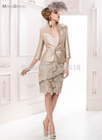 best gold stocks - Best Selling Scoop Stain Sheath Mother Of The Bride Lace Dresses With Jacket Three Quarter Sleeves Party Dresses